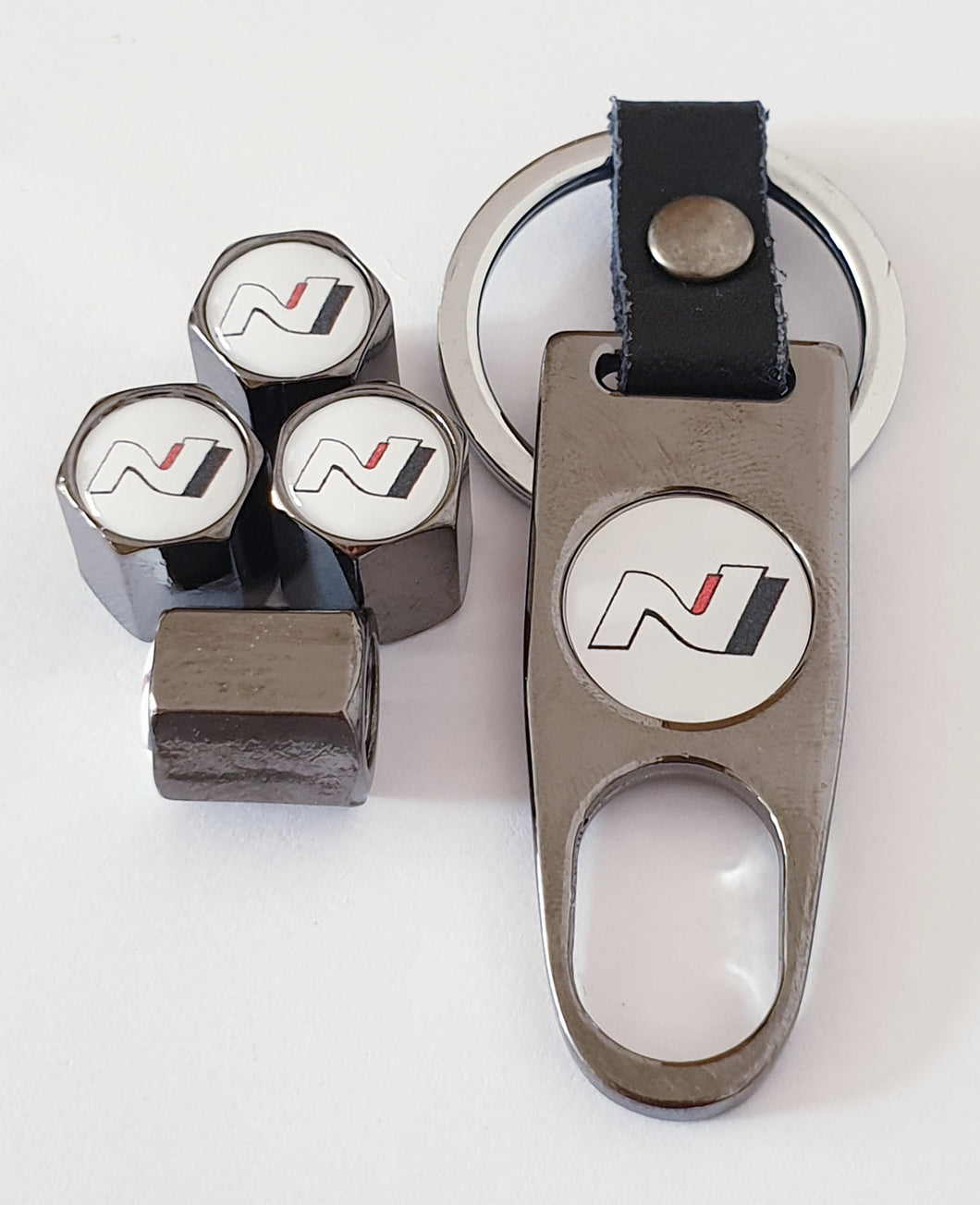HYUNDAI N logo  VALVE CAPS HEXI STYLE 12MM 8 COLOURS for ALL models Metal caps with Keychain/Spanner boxed Item