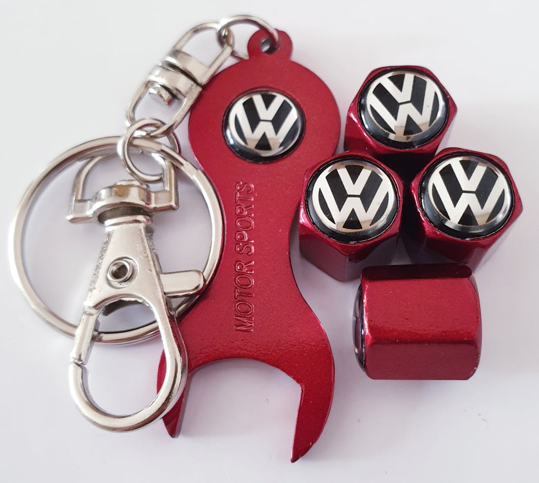 VW VOLKSWAGEN VALVE CAPS HEXI STYLE 3 COLORS for ALL models Metal caps with Keychain/Spanner Lovely Item Retail Packed Ideal Gift
