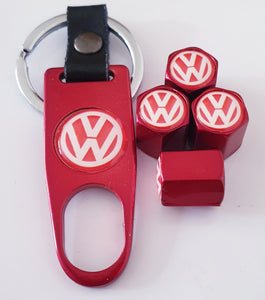 VW VOLKSWAGEN logo  VALVE CAPS HEXI STYLE 12MM 8 COLOURS for ALL models Metal caps with Keychain/Spanner boxed Item