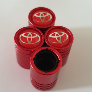 TOYOTA Huge alloy Metal Valve dust caps with Plastic Insides in 10 colours NON STICK for all models