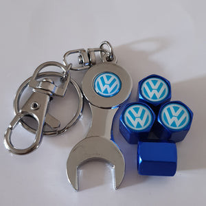 VW VOLKSWAGEN VALVE CAPS HEXI STYLE 15 COLORS for ALL models Metal caps with Keychain/Spanner Lovely Item