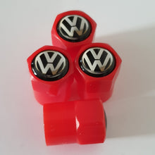 Load image into Gallery viewer, VW VOLKSWAGEN NON STICK PLASTIC VALVE CAPS HEXI STYLE 12MM 7 COLOURS all models