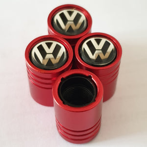 VW VOLKSWAGEN Huge alloy Metal Valve dust caps with Plastic Insides in 10 colours NON STICK for all models of VW