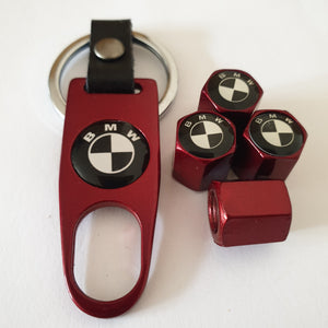BMW black white logo VALVE CAPS HEXI STYLE 12MM 9 COLOURS for ALL models with Spanner/Keychain