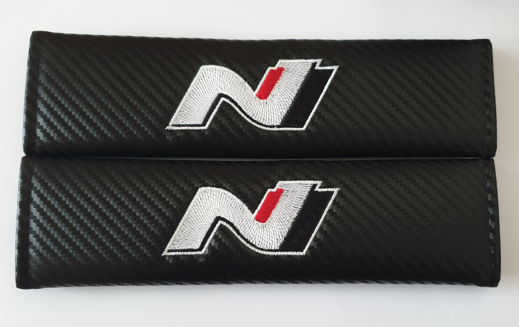 HYUNDAI N LINE Seat Belt Pads N logo for all models Carbon Fiber Tucson Kona i30 130N