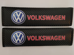 VW VOLKSWAGEN CARBON FIBER SET OF SEAT BELTS PADS STUNNING EXTRA