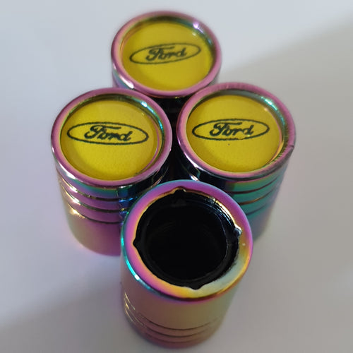 FORD Neo Chrome Huge alloy Metal Valve dust caps with Plastic Insides in 10 colours NON STICK for all models Yellow Logo