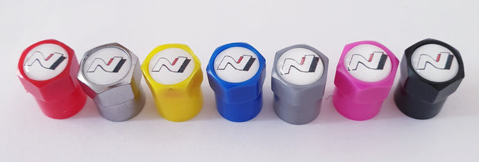 HYUNDAI N logo NON STICK PLASTIC VALVE CAPS HEXI STYLE 12MM 7 COLOURS for ALL models