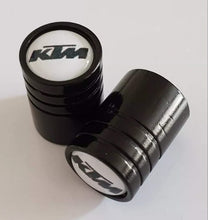 Load image into Gallery viewer, KTM Huge alloy Metal Valve dust caps with Plastic Insides in 10 colours NON STICK for all models SET OF 2 CAPS
