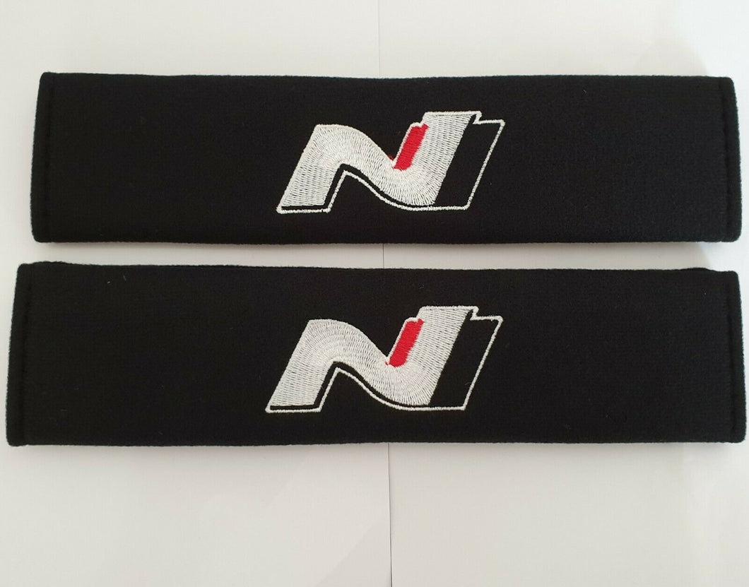 HYUNDAI N LINE Seat Belt Pads N logo for all models BLACK Tucson Kona i30 130N