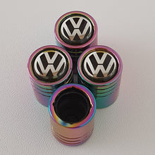 Load image into Gallery viewer, VW VOLKSWAGEN Huge alloy Metal Valve dust caps with Plastic Insides in 10 colours NON STICK for all models of VW