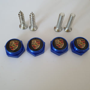 Porsche license Plate Bolts 4 colours 15mm  3d Domed Logos with Screws.