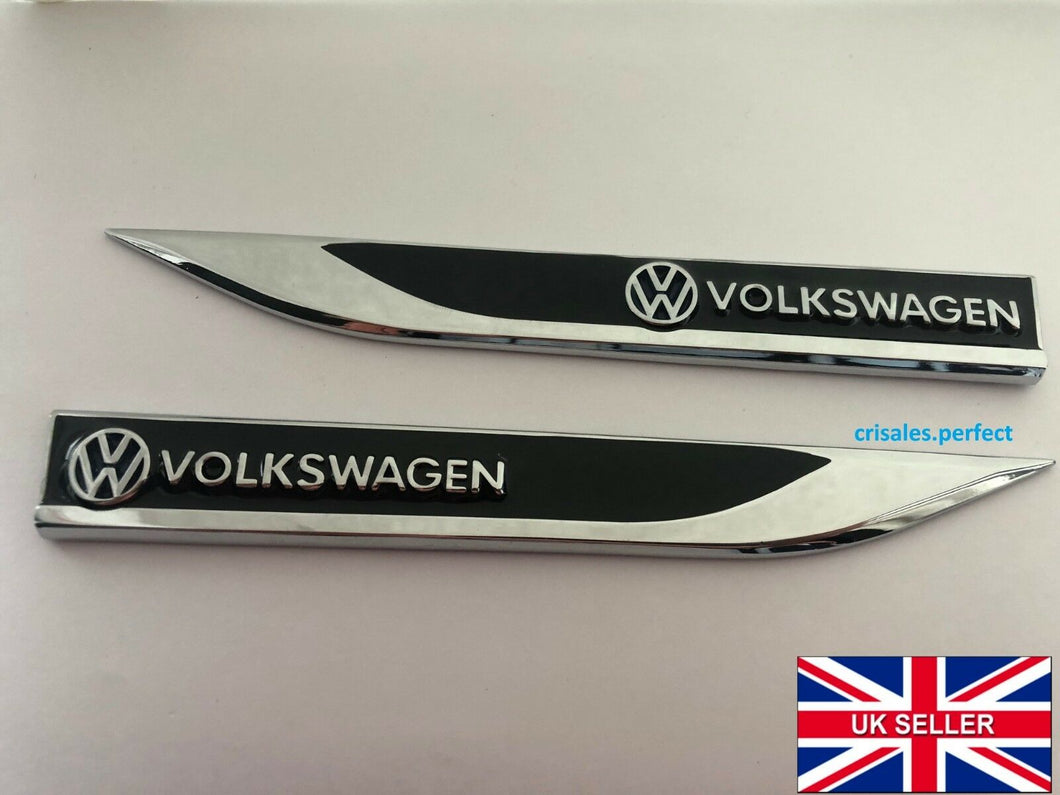 VW VOLKSWAGEN Emblem Badge Sticker Wing Fender Metal Black or Red Beetle T5 T4 T6 POLO