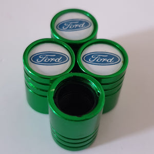FORD Huge alloy Metal Valve dust caps with Plastic Insides in 10 colours NON STICK for all models White logo
