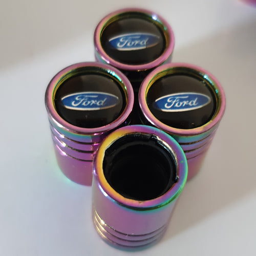 FORD Neo Chrome Huge alloy Metal Valve dust caps with Plastic Insides in 10 colours NON STICK for all models FORD LOGO