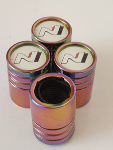 HYUNDAI N logo Huge alloy Metal Valve dust caps with Plastic Insides in 10 colours NON STICK  i30 N-Line