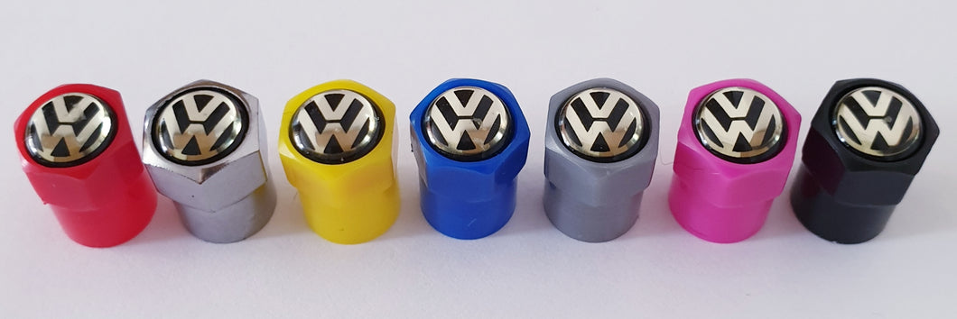 VW VOLKSWAGEN NON STICK PLASTIC VALVE CAPS HEXI STYLE 12MM 7 COLOURS all models