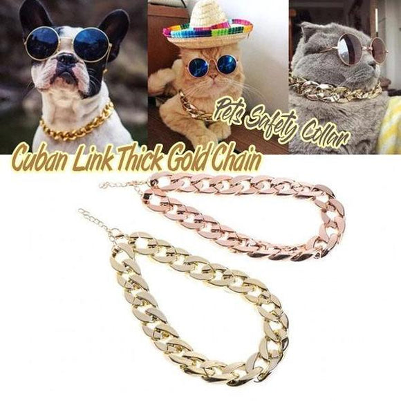 Thick Gold Chain Pets Safety Collar - ZZgeeks