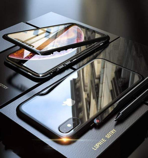 Magnetic Adsorption Transparent Tempered Glass Phone Case For iPhone - ZZgeeks