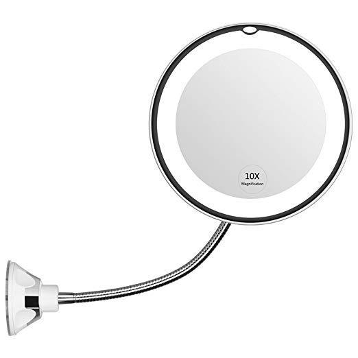 Flexible Light Up Mirror 10X magnification 360-Degree Rotating Makeup Mirror - ZZgeeks