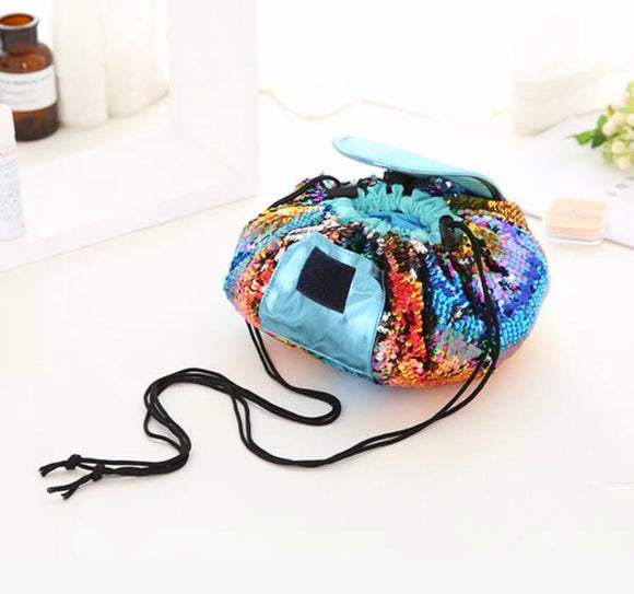 Sequin Drawstring Cosmetic Bag Lazy Travel Makeup Bag