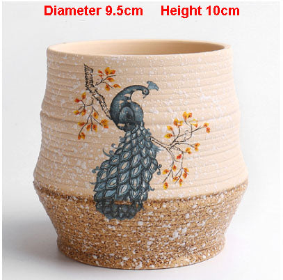 Ceramic Pot with Blue peacock design - Diameter 9.5cm Height 10cm