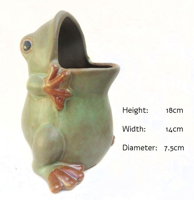 Country Style Green Frog Ceramic Pots