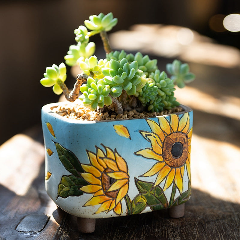 Ceramic Succulent Pot - Sunflower