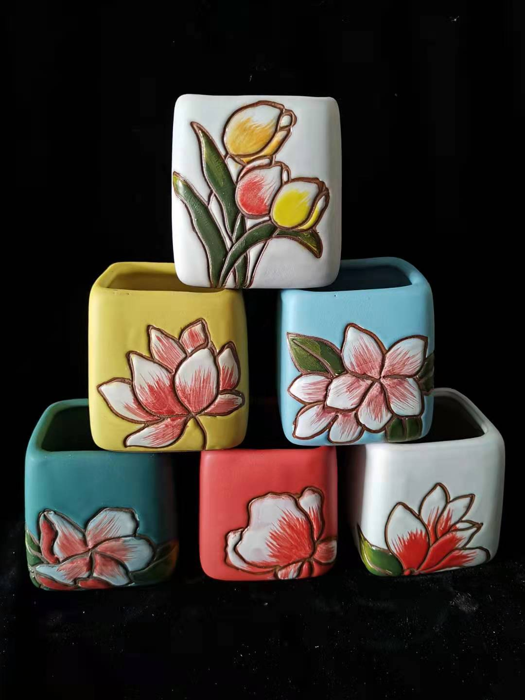 Set of 6 - ceramic succulent pots 6cm x 6cm x 7.5cm