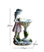 Garden Feature with Solar Light  - Resin Flower Girl