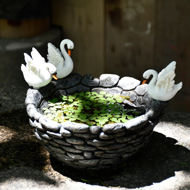 Resin Pot for Aquatic Plants - Swans