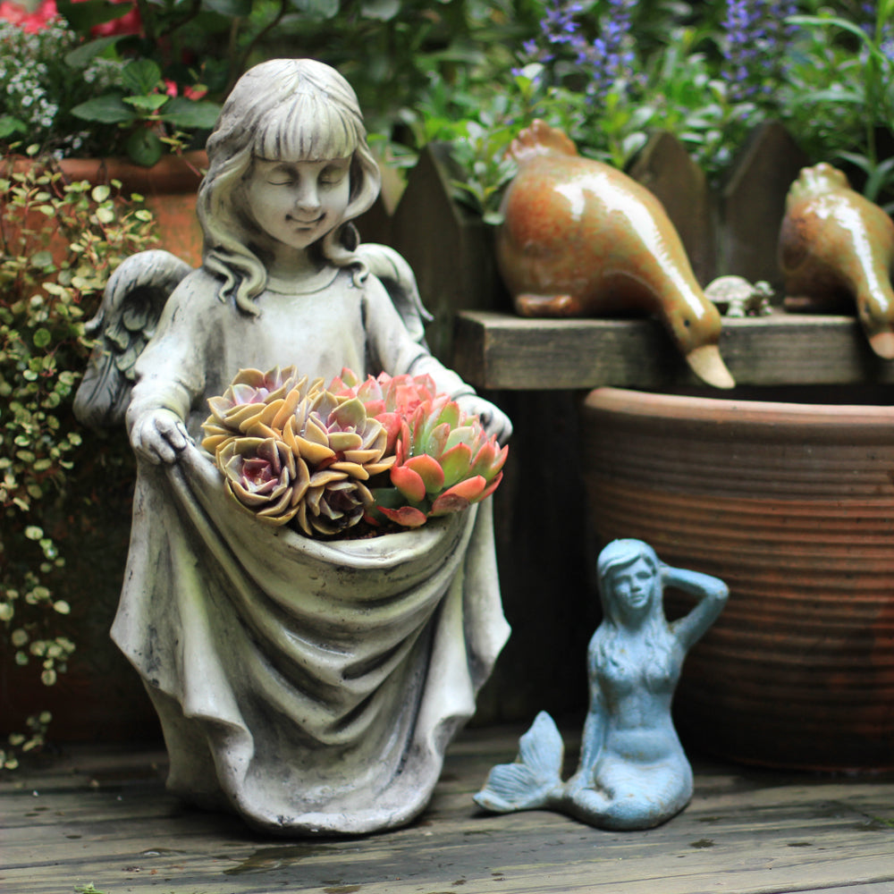Little Angel Girl Resin Pot with drainage hole
