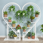 White Metal Heart Shape Stand for Indoor Plants