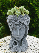Resin Head Planter with Drainage Hole - 35cm tall