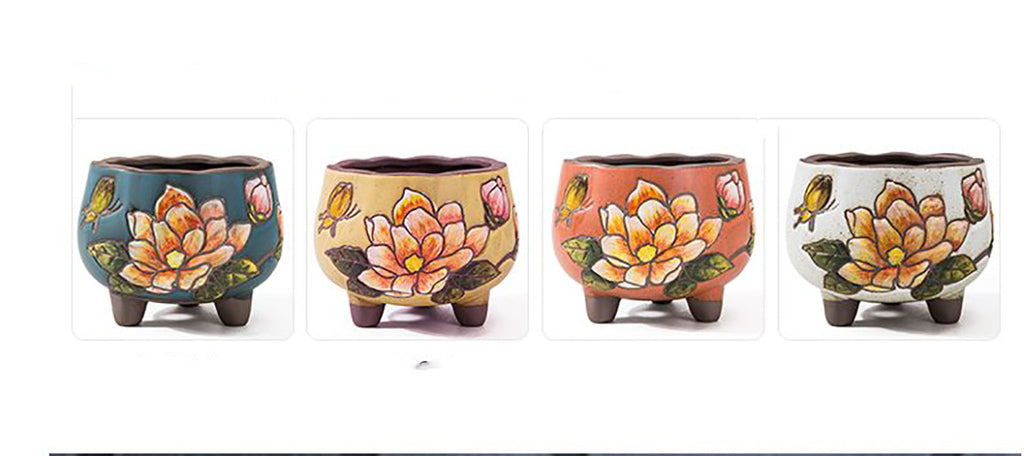 Set of 4 -  Hand-painted Ceramic Pots