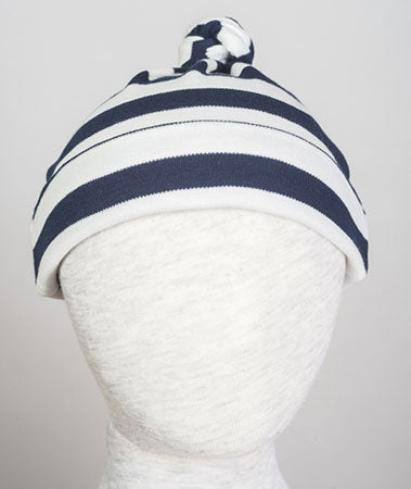 Beanie aus Baumwolle, blue-stripes