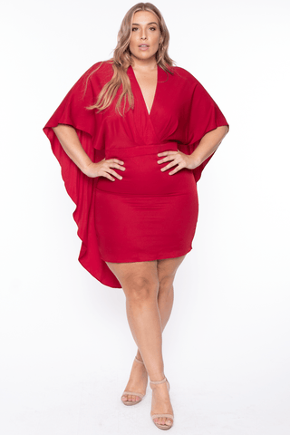 Mala Plunge Cape Dress - Red