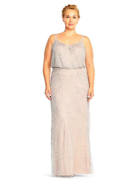 Adrianna Papell Beaded Blouson Gown-Silvernude