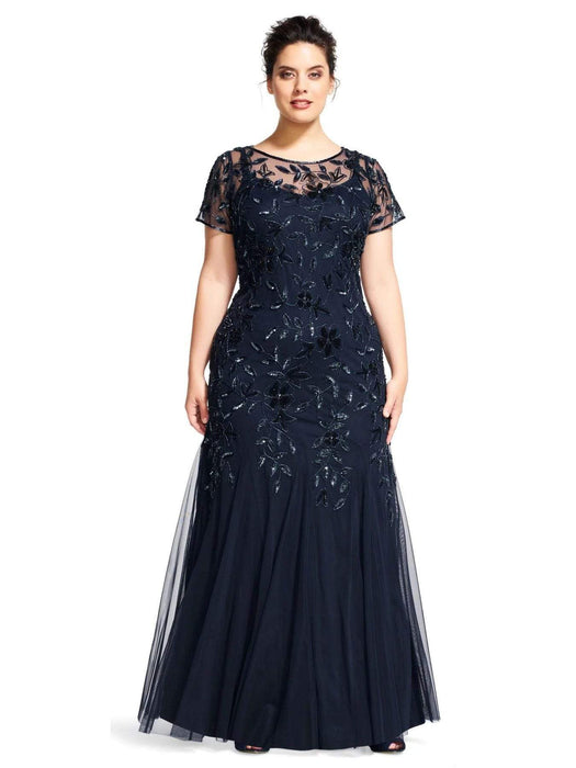 Adrianna Papell Floral Beaded Godet Gown-Twilight