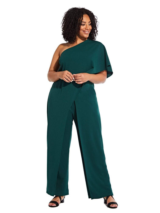 Adrianna Papell Flutter One Shoulder Jumpsuit-Dusty Emerald