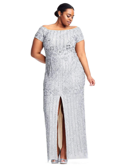 Adrianna Papell Off The Shoulder Beaded Column Gown With Slit Skirt-Blue Heather/Silver