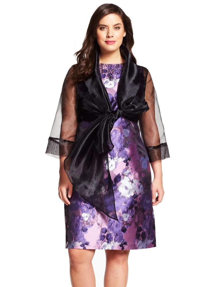 Adrianna Papell Organza Wrap Jacket With Tie Front Collar-Black
