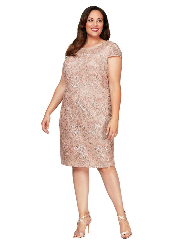 Alex Evenings Embroidered Sequin Dress in Rose Gold