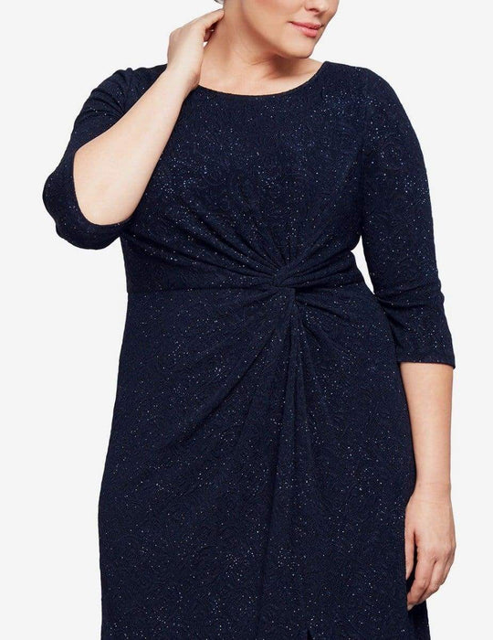 Alex Evenings Long Knot Front Dress - Navy 22W