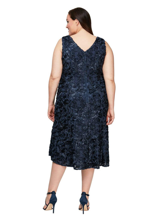 Alex Evenings Sleeveless Soutache Dress in Navy