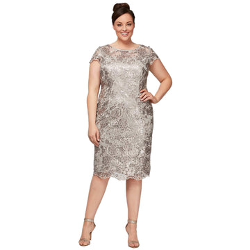6f97f5a66 Taupe Short Embroidered Cap Sleeve Dress ...