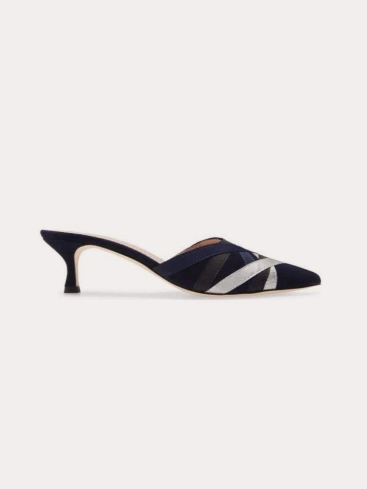 Allegra James GINGER mule in navy suede