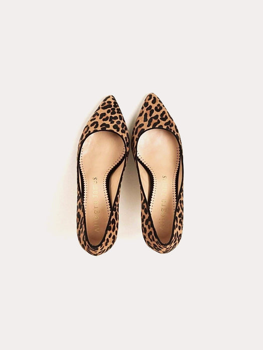Allegra James KRISTEN Kitten Heel Pump in Leopard Hair Calf