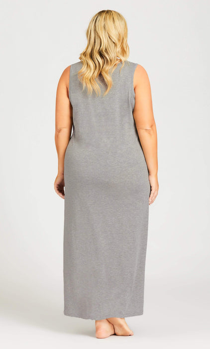 AVENUE Cold Outside Maxi Sleep Dress - gray