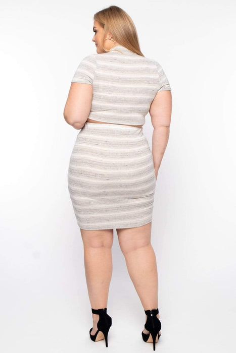 Bump Biddy Maternity Heathered Striped Matching Set - Oatmeal